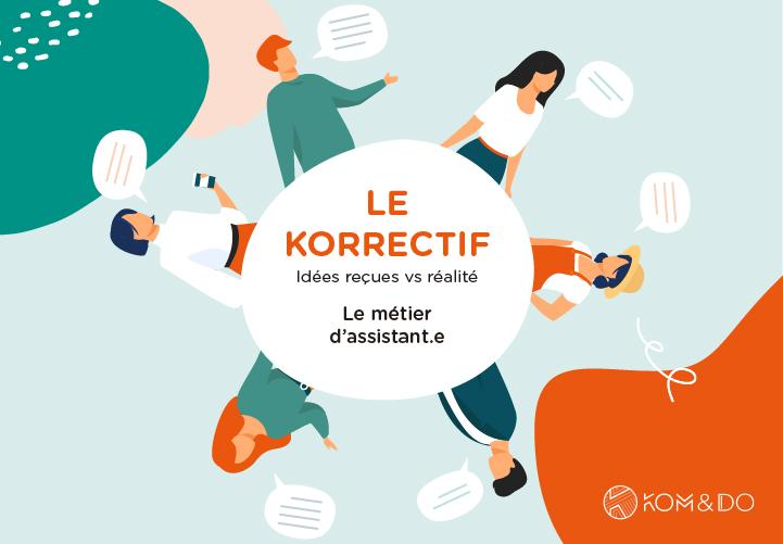 Illustration représentant des personnes en train de discuter sur le metier d'assistant.e - Korrectif