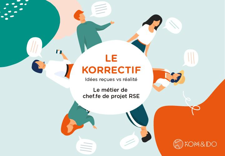 Illustration représentant des personnes qui discutent des clichés sur le métier de Chef(fe) de projet RSE - Le Korrectif